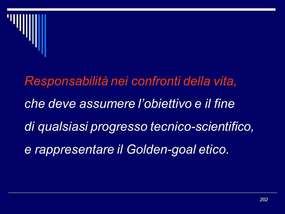 202 Responsabilità nei confronti della vita, che deve assumere lobiettivo e il fine di qualsiasi progresso tecnico-scientifico, e rappresentare il Gol