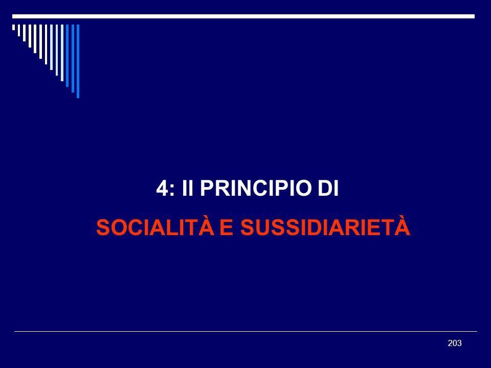 203 4: Il PRINCIPIO DI SOCIALITÀ E SUSSIDIARIETÀ