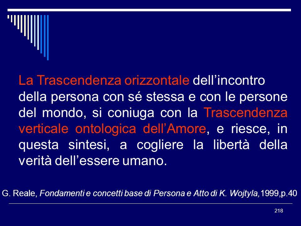 218 La Trascendenza orizzontale dellincontro della persona con sé stessa e con le persone del mondo, si coniuga con la Trascendenza verticale ontologi