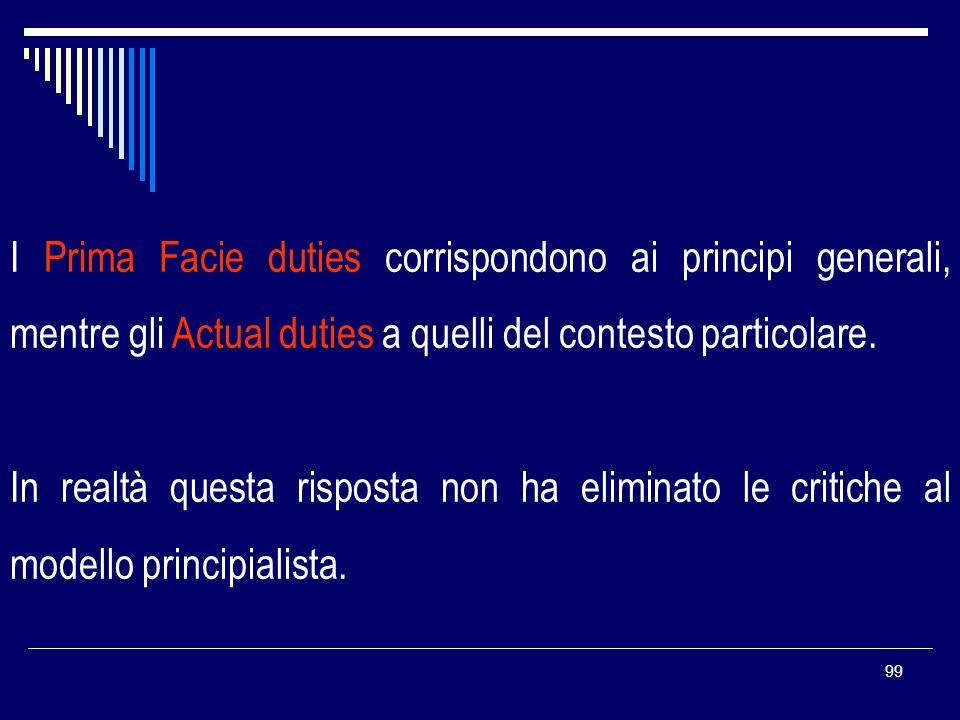 99 I Prima Facie duties corrispondono ai principi generali, mentre gli Actual duties a quelli del contesto particolare. In realtà questa risposta non