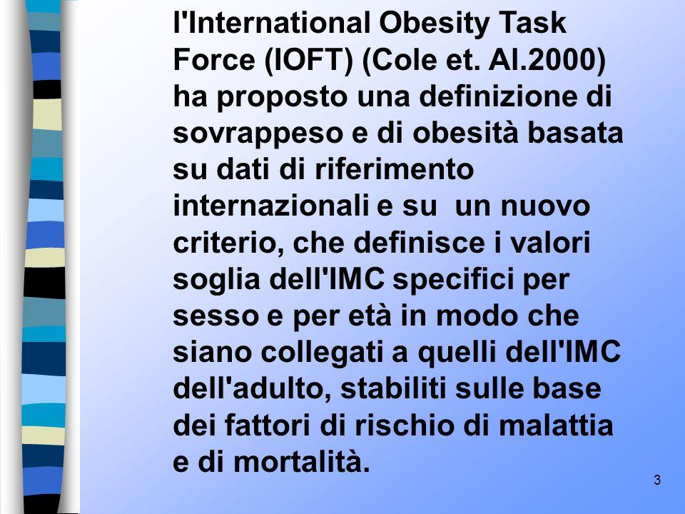 4 Sono stati definiti i valori soglia internazionali per il sovrappeso e per l obesità specifici per sesso ed età: 25 kg/m2 e 30kg/m2.