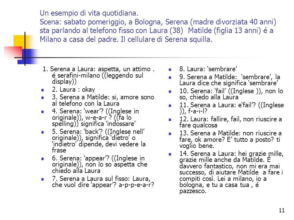 11 Un esempio di vita quotidiana. Scena: sabato pomeriggio, a Bologna, Serena (madre divorziata 40 anni) sta parlando al telefono fisso con Laura (38)