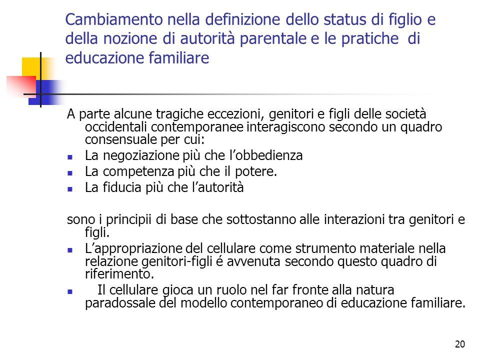 20 Cambiamento nella definizione dello status di figlio e della nozione di autorità parentale e le pratiche di educazione familiare A parte alcune tra