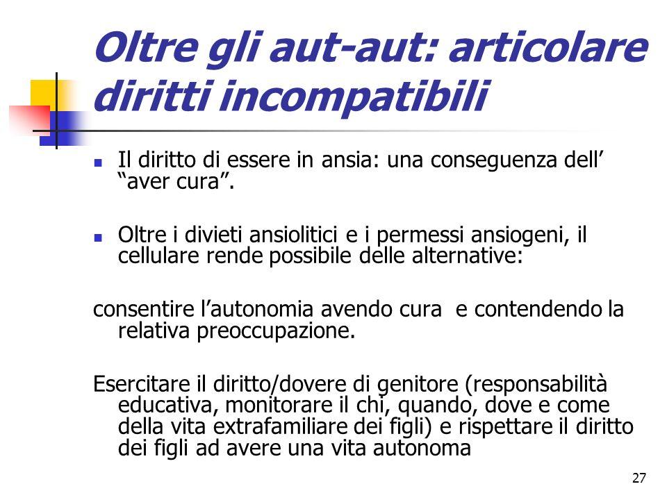 27 Oltre gli aut-aut: articolare diritti incompatibili Il diritto di essere in ansia: una conseguenza dell aver cura. Oltre i divieti ansiolitici e i