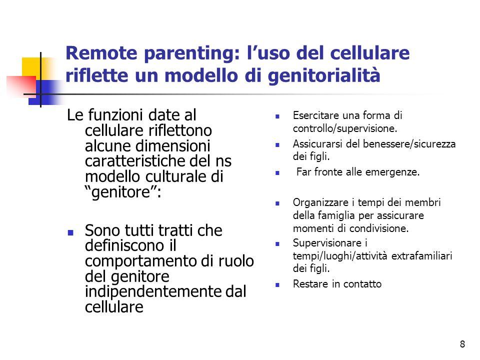 8 Remote parenting: luso del cellulare riflette un modello di genitorialità Le funzioni date al cellulare riflettono alcune dimensioni caratteristiche