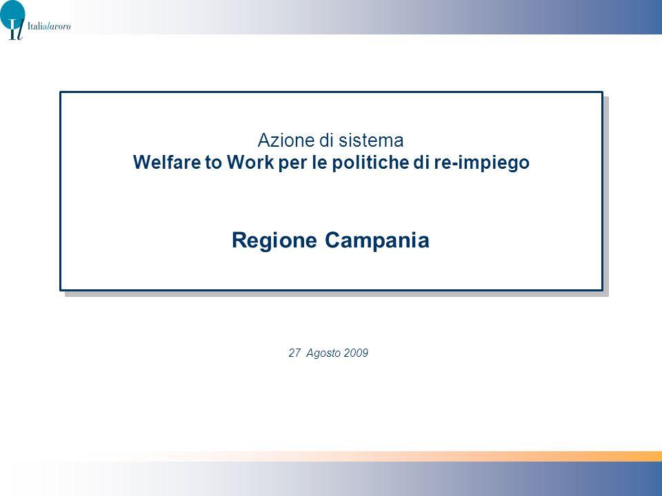 Azione di sistema Welfare to Work per le politiche di re-impiego Regione Campania 27 Agosto 2009