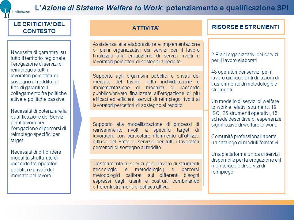 Necessità di garantire, su tutto il territorio regionale, lerogazione di servizi di reimpiego a tutti i lavoratori percettori di sostegno al reddito,