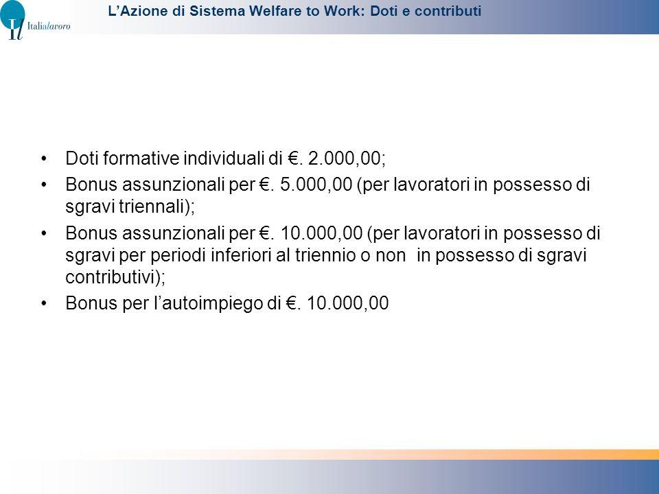 Doti formative individuali di. 2.000,00; Bonus assunzionali per. 5.000,00 (per lavoratori in possesso di sgravi triennali); Bonus assunzionali per. 10
