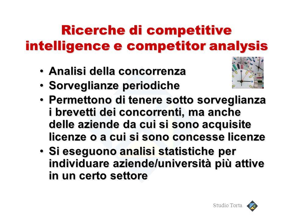 Studio Torta Ricerche di competitive intelligence e competitor analysis Analisi della concorrenzaAnalisi della concorrenza Sorveglianze periodicheSorv