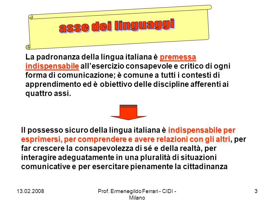13.02.2008Prof. Ermenegildo Ferrari - CIDI - Milano 14 a