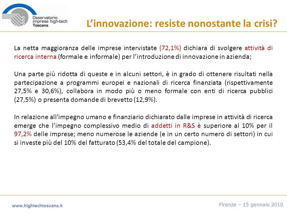www.hightechtoscana.it Firenze – 15 gennaio 2010 Linnovazione: resiste nonostante la crisi.