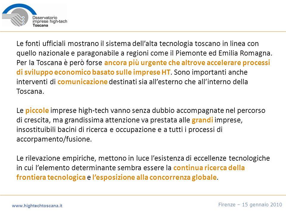 Le fonti ufficiali mostrano il sistema dellalta tecnologia toscano in linea con quello nazionale e paragonabile a regioni come il Piemonte ed Emilia Romagna.