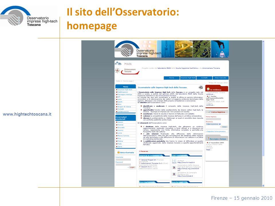 Il sito dellOsservatorio: homepage www.hightechtoscana.it Firenze – 15 gennaio 2010