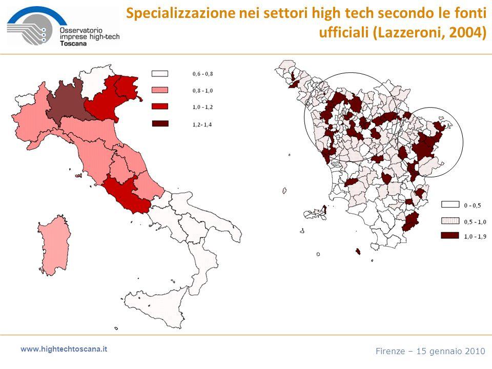 www.hightechtoscana.it Firenze – 15 gennaio 2010 Il trend del fatturato e degli addetti 2007-2009 Fatturato medio (n=359)Addetti medi (n=635) -9,3% + 5,7%