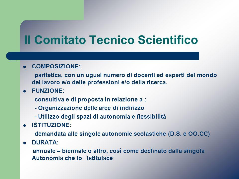 Il Comitato Tecnico Scientifico COMPOSIZIONE: paritetica, con un ugual numero di docenti ed esperti del mondo del lavoro e/o delle professioni e/o del