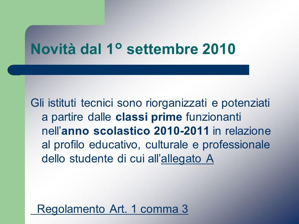 Novità dal 1° settembre 2010 Gli istituti tecnici sono riorganizzati e potenziati a partire dalle classi prime funzionanti nellanno scolastico 2010-20