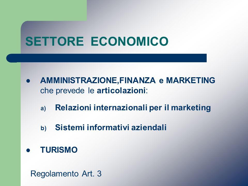 SETTORE ECONOMICO AMMINISTRAZIONE,FINANZA e MARKETING che prevede le articolazioni: TURISMO Regolamento Art. 3 a) Relazioni internazionali per il mark