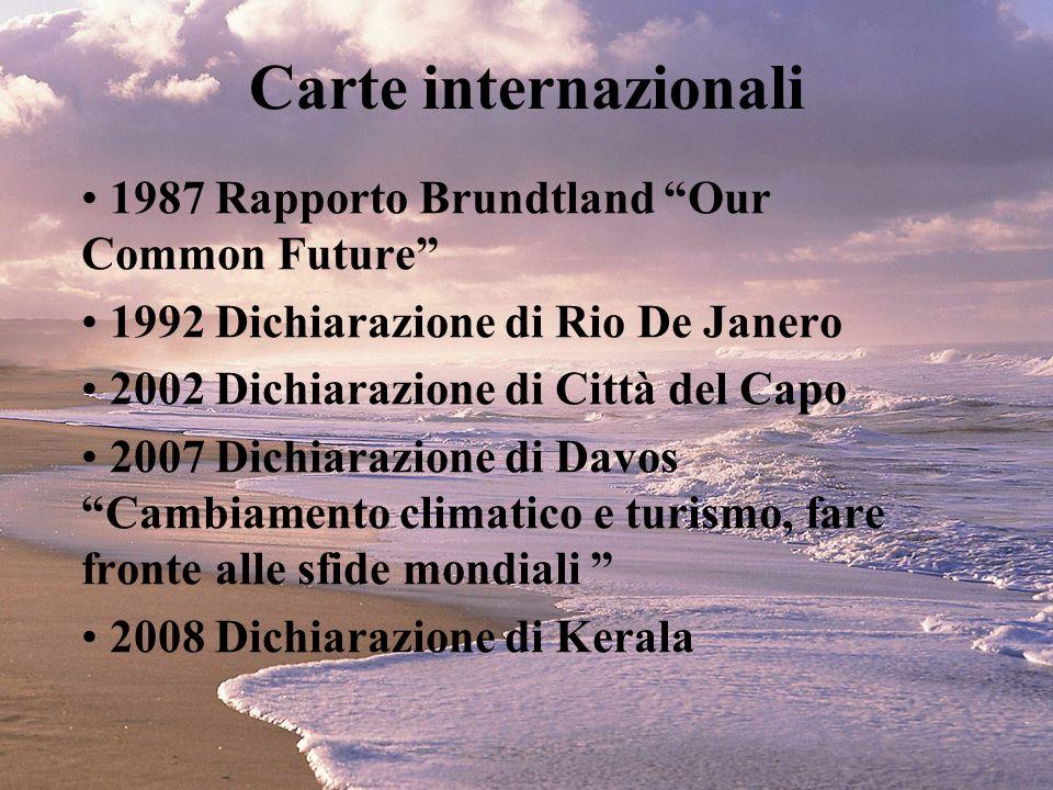 Carte internazionali 1987 Rapporto Brundtland Our Common Future 1992 Dichiarazione di Rio De Janero 2002 Dichiarazione di Città del Capo 2007 Dichiara