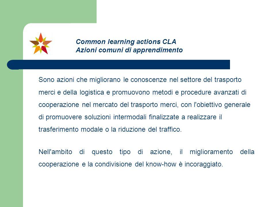 Sono azioni che migliorano le conoscenze nel settore del trasporto merci e della logistica e promuovono metodi e procedure avanzati di cooperazione ne