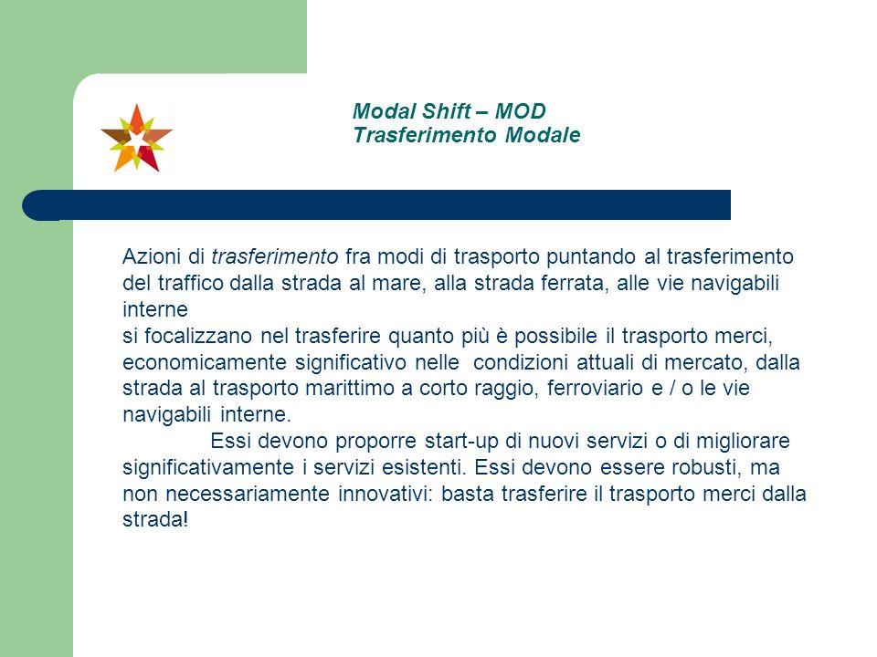 Modal Shift – MOD Trasferimento Modale Azioni di trasferimento fra modi di trasporto puntando al trasferimento del traffico dalla strada al mare, alla
