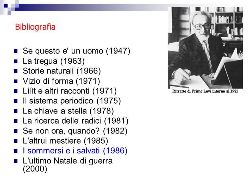 Bibliografia Se questo e' un uomo (1947) La tregua (1963) Storie naturali (1966) Vizio di forma (1971) Lilìt e altri racconti (1971) Il sistema period