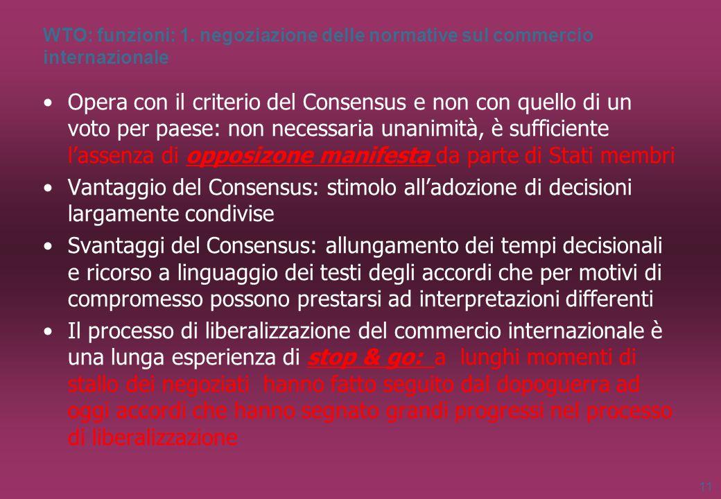 WTO: funzioni: 1. negoziazione delle normative sul commercio internazionale Opera con il criterio del Consensus e non con quello di un voto per paese: