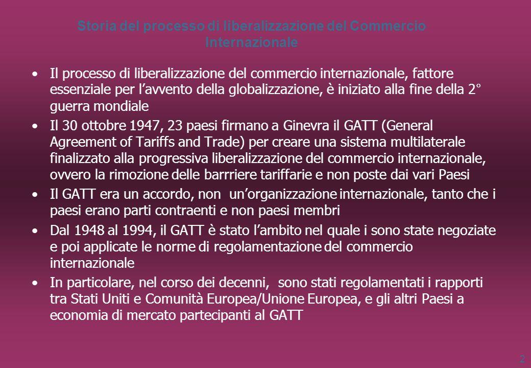 2 Storia del processo di liberalizzazione del Commercio Internazionale Il processo di liberalizzazione del commercio internazionale, fattore essenzial
