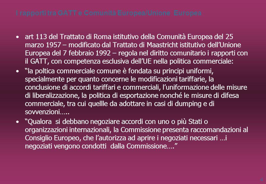 I rapporti tra GATT e Comunità Europea/Unione Europea art 113 del Trattato di Roma istitutivo della Comunità Europea del 25 marzo 1957 – modificato da
