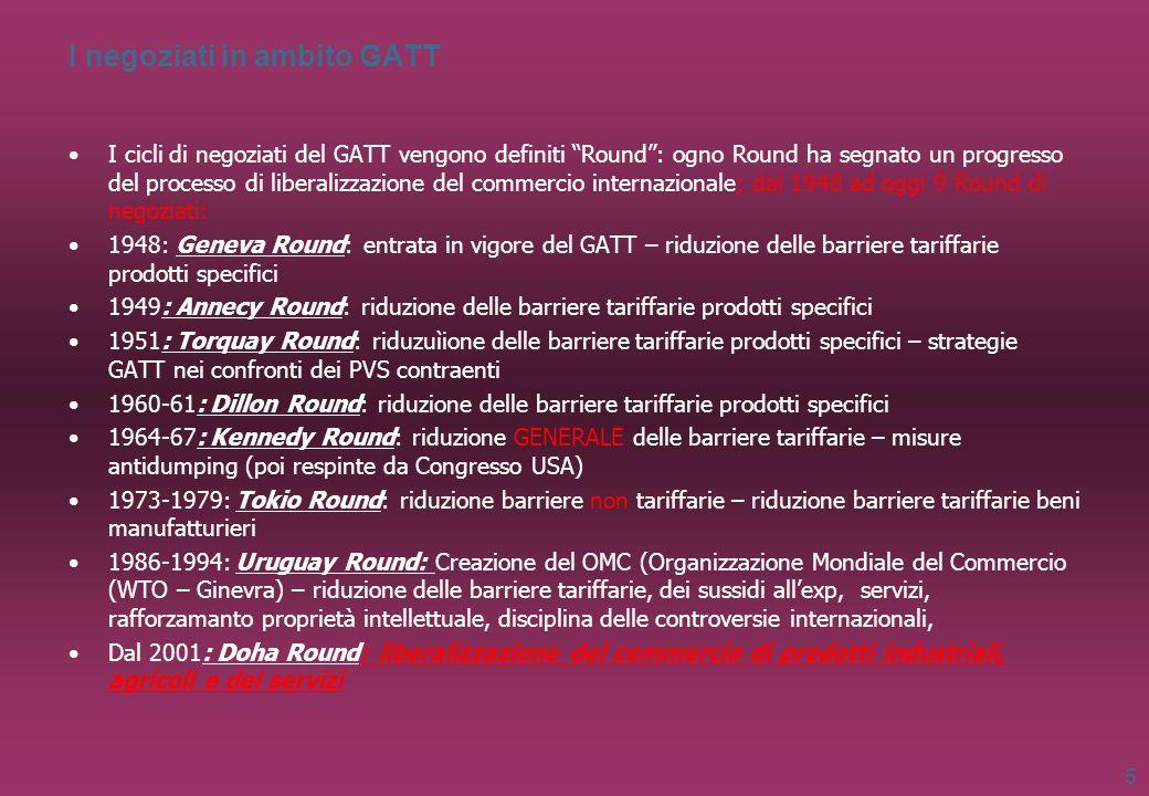 I negoziati in ambito GATT I cicli di negoziati del GATT vengono definiti Round: ogno Round ha segnato un progresso del processo di liberalizzazione d
