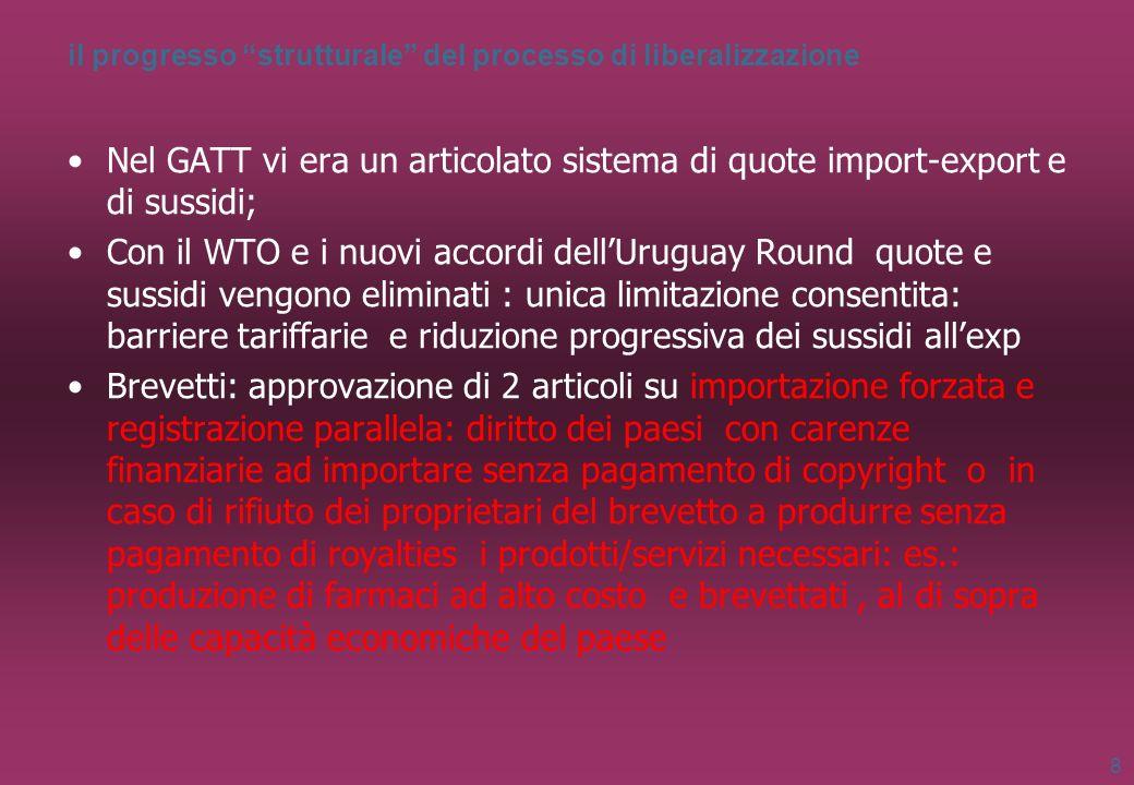 il progresso strutturale del processo di liberalizzazione Nel GATT vi era un articolato sistema di quote import-export e di sussidi; Con il WTO e i nu