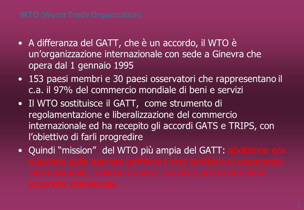 WTO (World Trade Organization) A differanza del GATT, che è un accordo, il WTO è unorganizzazione internazionale con sede a Ginevra che opera dal 1 ge