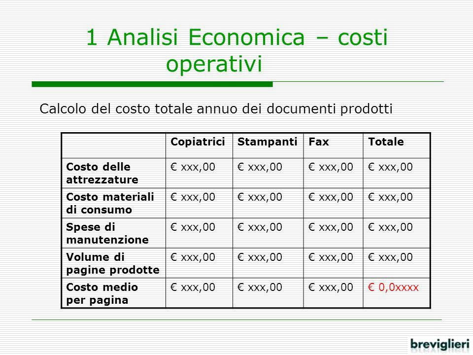 1 Analisi Economica – costi operativi Calcolo del costo totale annuo dei documenti prodotti CopiatriciStampantiFaxTotale Costo delle attrezzature xxx,