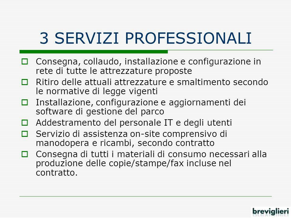 3 SERVIZI PROFESSIONALI Consegna, collaudo, installazione e configurazione in rete di tutte le attrezzature proposte Ritiro delle attuali attrezzature