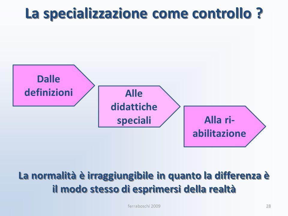 La specializzazione come controllo ? Dalle definizioni Alla ri- abilitazione Alle didattiche speciali 28ferraboschi 2009 La normalità è irraggiungibil