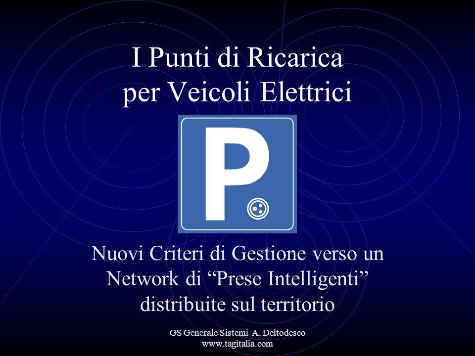 GS Generale Sistemi A. Deltodesco www.tagitalia.com I Punti di Ricarica per Veicoli Elettrici Nuovi Criteri di Gestione verso un Network di Prese Inte