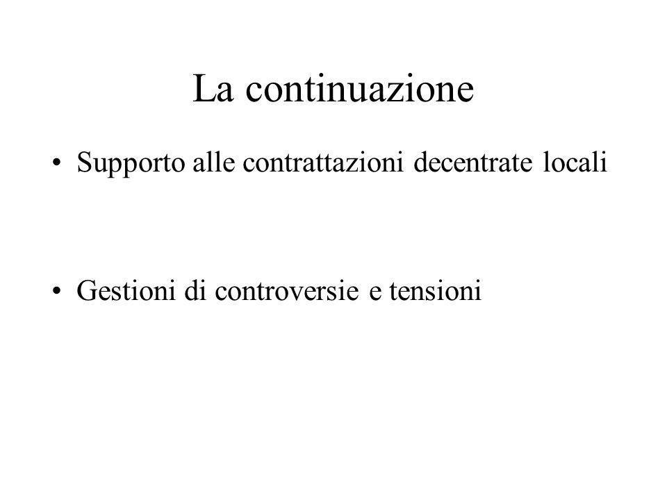 La continuazione Supporto alle contrattazioni decentrate locali Gestioni di controversie e tensioni