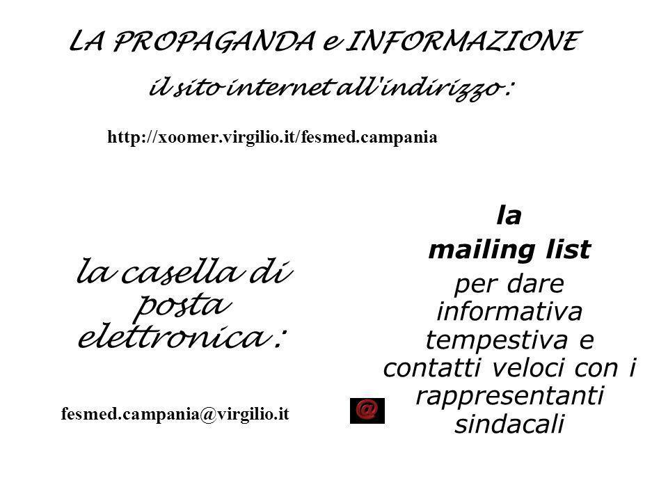 LA PROPAGANDA e INFORMAZIONE il sito internet all'indirizzo : http://xoomer.virgilio.it/fesmed.campania la casella di posta elettronica : fesmed.campa