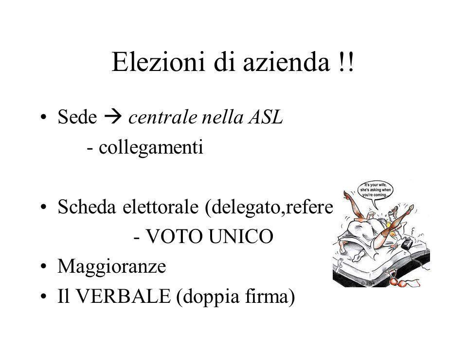Elezioni di azienda !! Sede centrale nella ASL - collegamenti Scheda elettorale (delegato,referenti) - VOTO UNICO Maggioranze Il VERBALE (doppia firma