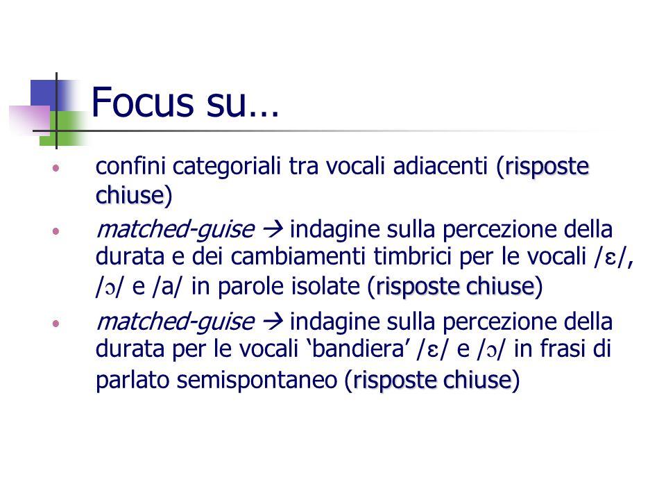 Focus su… risposte chiuse confini categoriali tra vocali adiacenti (risposte chiuse) risposte chiuse matched-guise indagine sulla percezione della dur