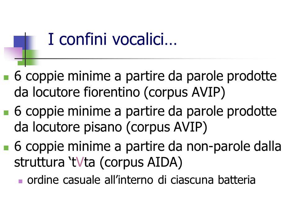 6 coppie minime a partire da parole prodotte da locutore fiorentino (corpus AVIP) 6 coppie minime a partire da parole prodotte da locutore pisano (cor