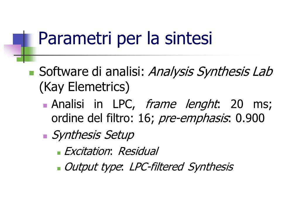 Parametri per la sintesi Software di analisi: Analysis Synthesis Lab (Kay Elemetrics) Analisi in LPC, frame lenght: 20 ms; ordine del filtro: 16; pre-