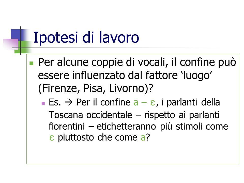 Ipotesi di lavoro Per alcune coppie di vocali, il confine può essere influenzato dal fattore luogo (Firenze, Pisa, Livorno)? Es. Per il confine a –, i