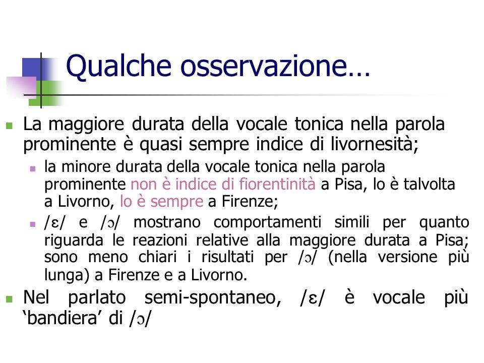 Qualche osservazione… La maggiore durata della vocale tonica nella parola prominente è quasi sempre indice di livornesità; la minore durata della voca