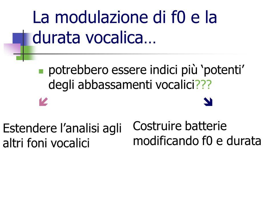 La modulazione di f0 e la durata vocalica … potrebbero essere indici più potenti degli abbassamenti vocalici??? Estendere lanalisi agli altri foni voc