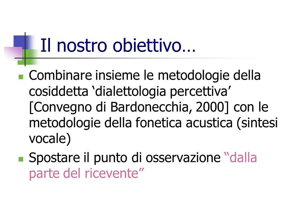 Stimolo3: cAlco Originale (Fi) V più breve (-50%) V più lunga (+20%) V più lunga (+50%) V con F1 –50, F2 –100 V con F1 –100, F2 –200 Per ciascuna batteria, presentata secondo sequenze casuali Attribuzione della località di provenienza: Pisa Livorno Firenze