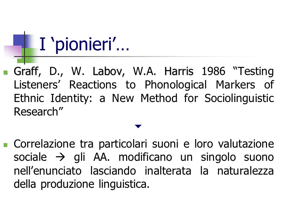 I pionieri… GraffLabovHarris Graff, D., W. Labov, W.A. Harris 1986 Testing Listeners Reactions to Phonological Markers of Ethnic Identity: a New Metho