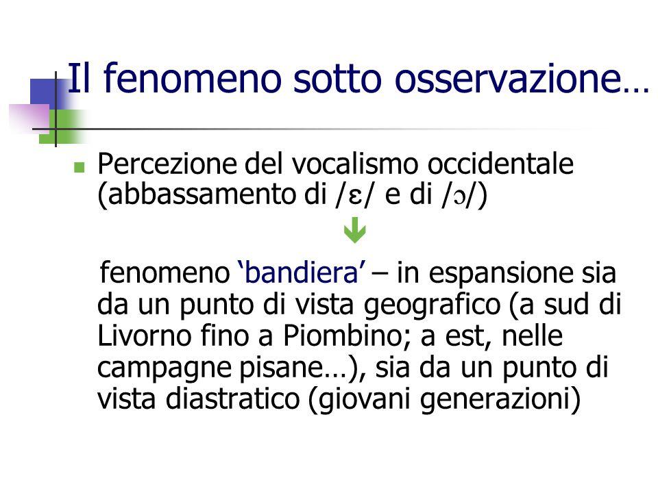 Il fenomeno sotto osservazione … Percezione del vocalismo occidentale (abbassamento di / / e di / /) fenomeno bandiera – in espansione sia da un punto