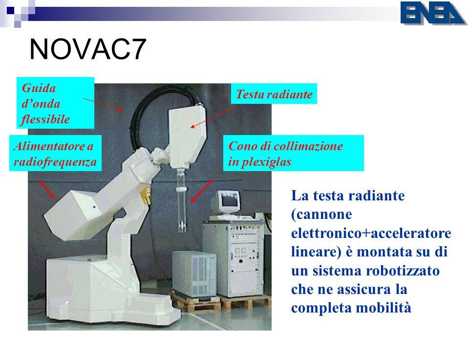 NOVAC7 Testa radiante La testa radiante (cannone elettronico+acceleratore lineare) è montata su di un sistema robotizzato che ne assicura la completa