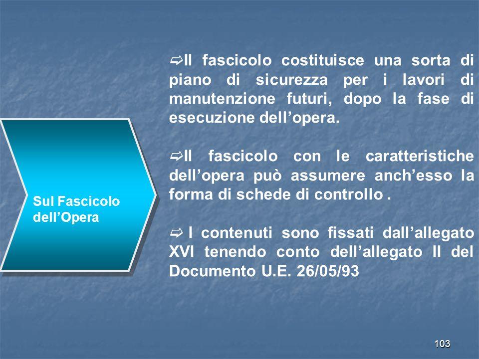 103 Sul Fascicolo dellOpera Il fascicolo costituisce una sorta di piano di sicurezza per i lavori di manutenzione futuri, dopo la fase di esecuzione d