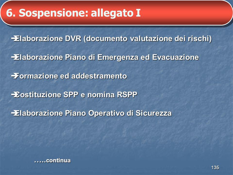 135 6. Sospensione: allegato I Elaborazione DVR (documento valutazione dei rischi) Elaborazione DVR (documento valutazione dei rischi) Elaborazione Pi